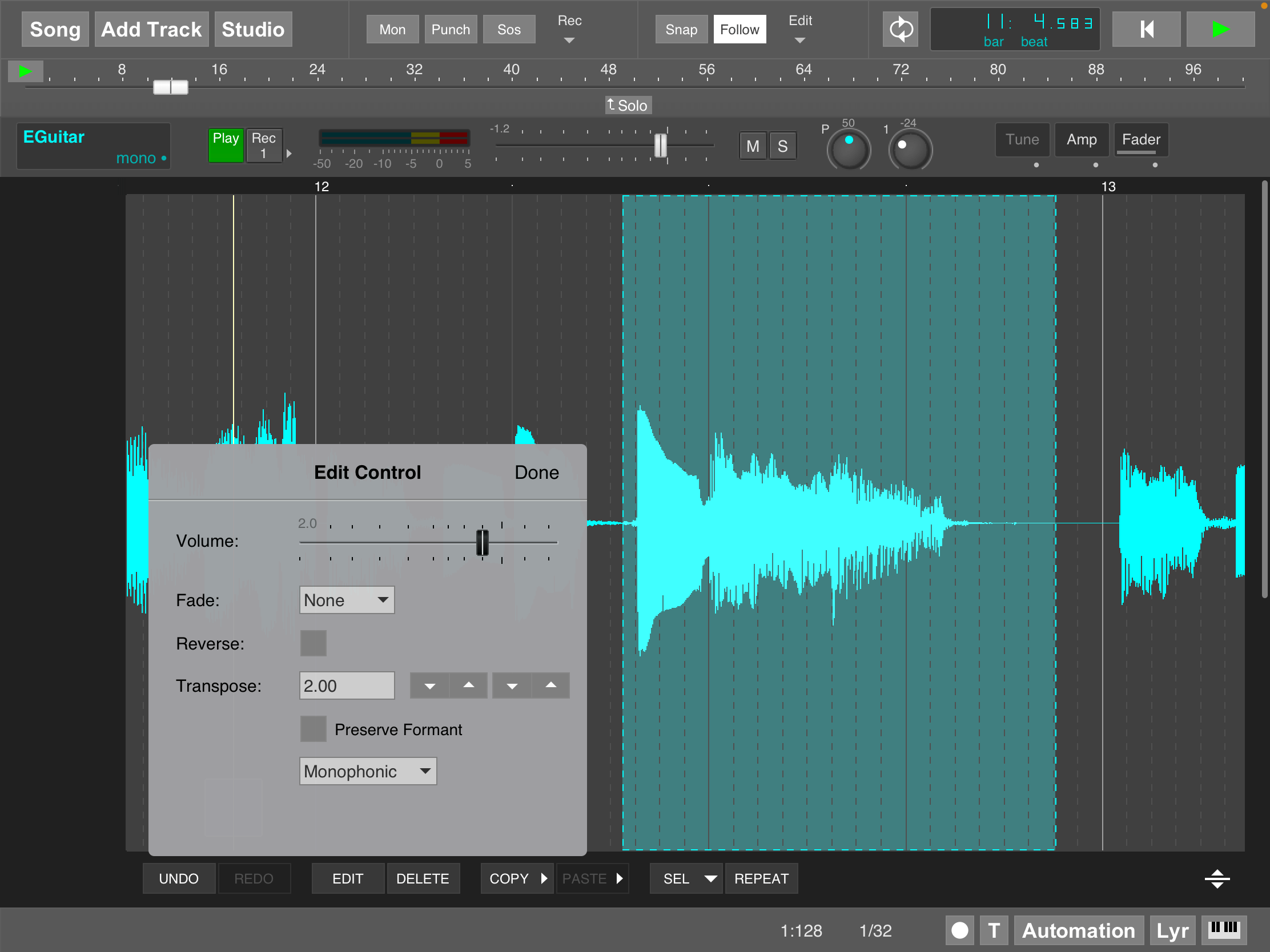 MultitrackStudio for iPad - Audio pitch shifting in track editor