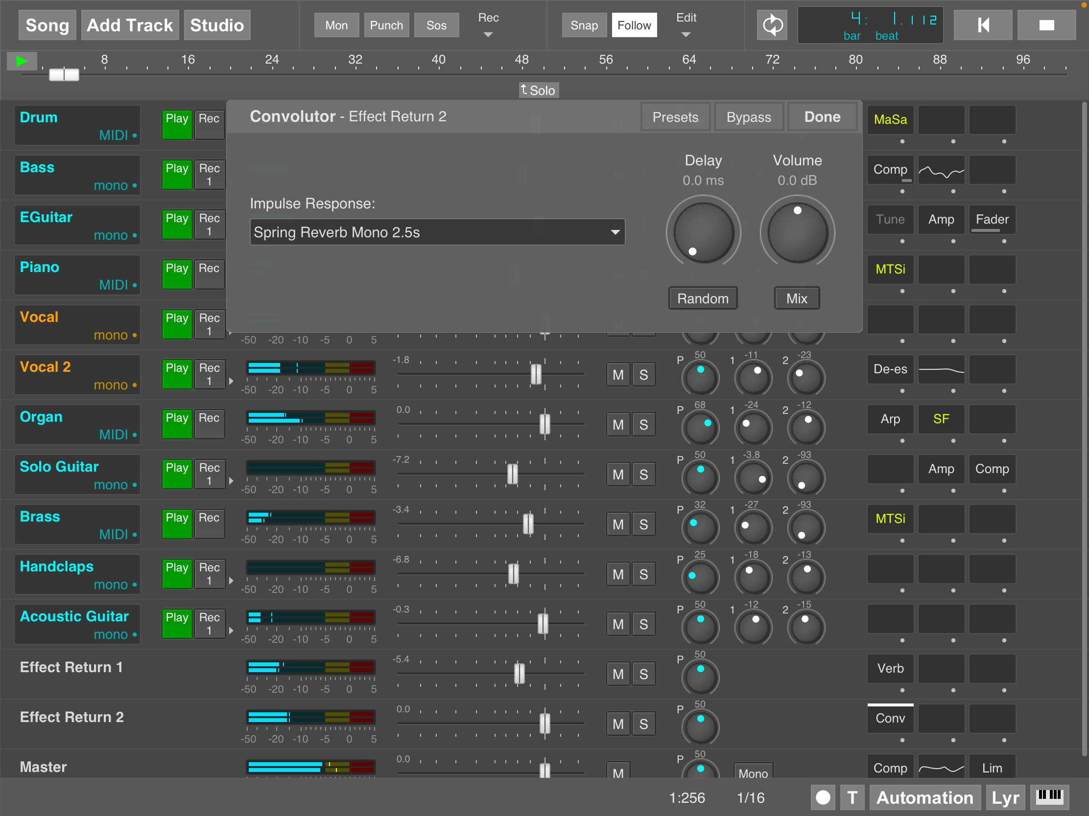 MultitrackStudio for iPad - Convolutor effect and extra Effect Return section