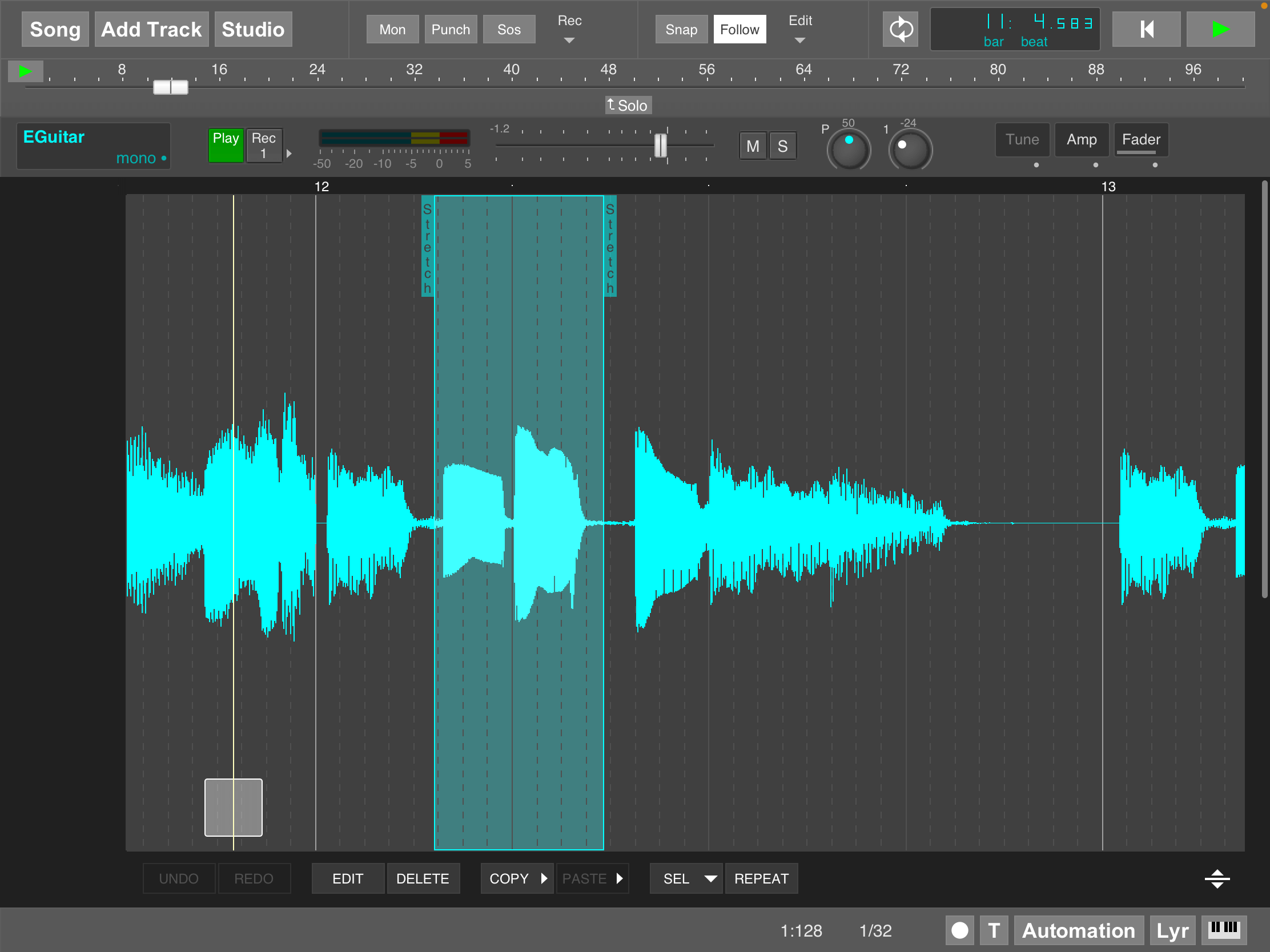 MultitrackStudio for iPad - Time stretching in track editor