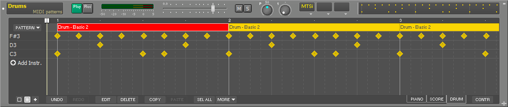 Drum track with patterns