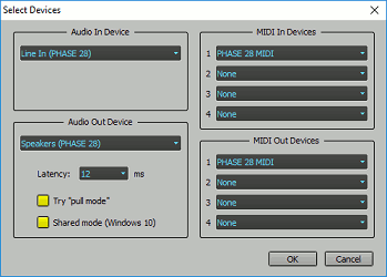 <i>Select Devices window using Windows drivers</i>